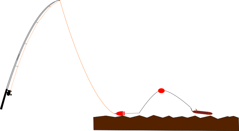 ロケット天秤+水中ウキ仕掛けの予想図