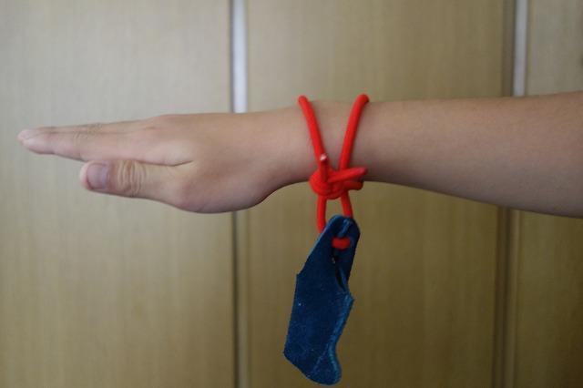 青い皮を、赤い紐の輪に通す図