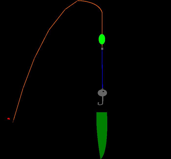 飛ばしウキ+ジグヘッド+ワームの仕掛図