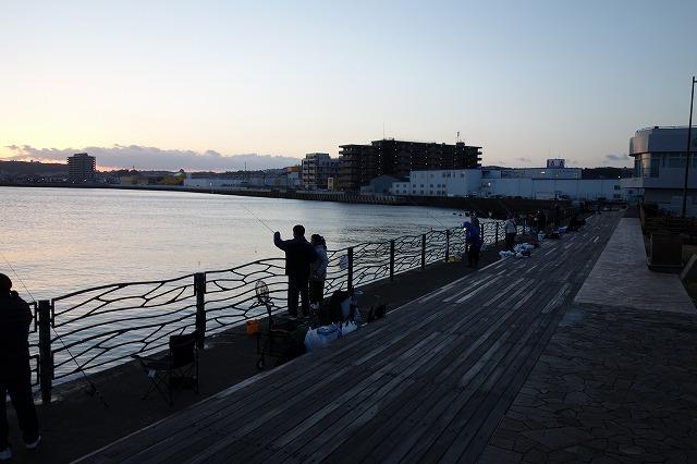 横須賀海辺釣り公園2021年1月16日(土)07時ころの混雑状況の写真