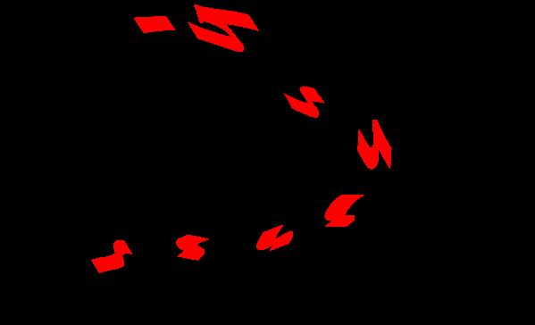 オキアミを背掛け(遠投)したイラスト