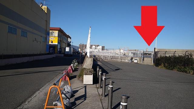 大津港(ドンキ裏)釣り場入口の写真