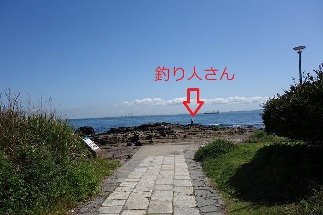観音崎公園磯場の釣り人さんの写真