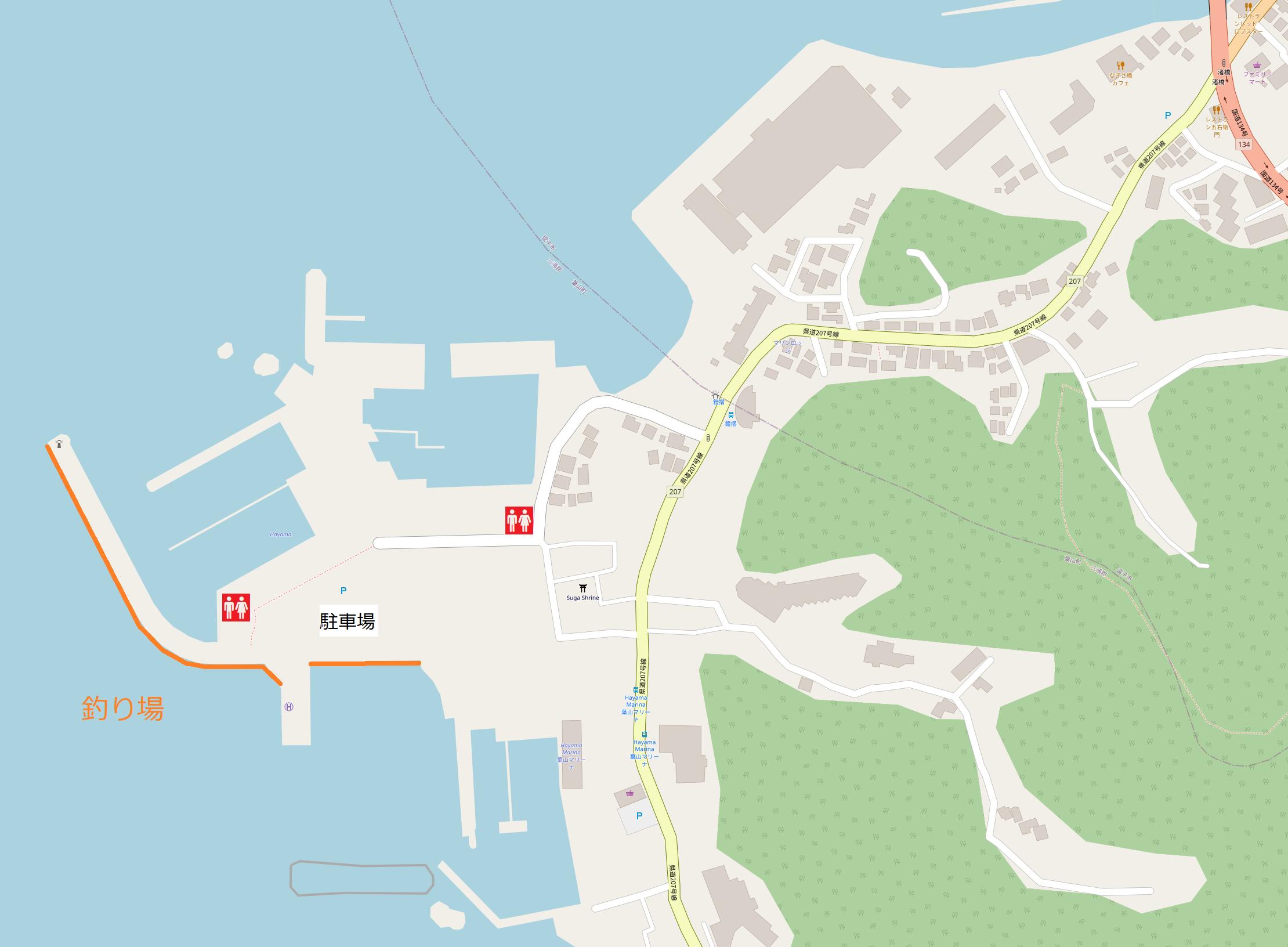 葉山港の釣り場図