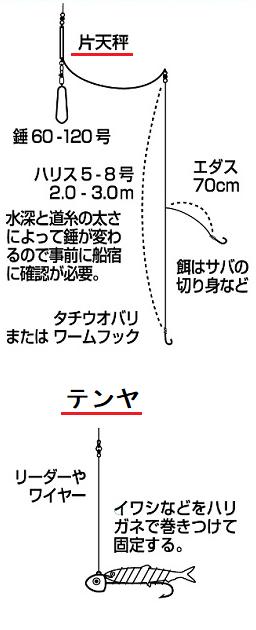 ダイワが推奨する太刀魚テンヤと太刀魚天秤仕掛け図